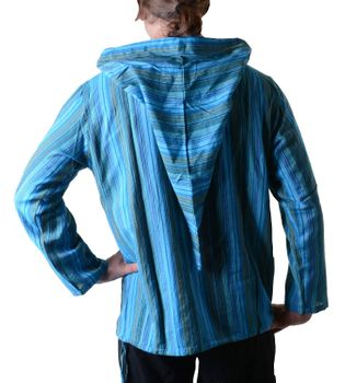 Striped Fisherman Shirt Kurtha Poncho Medieval with Hood – Bild 16