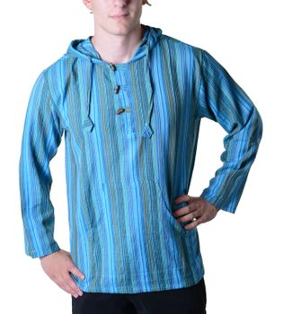 Striped Fisherman Shirt Kurtha Poncho Medieval with Hood – Bild 14