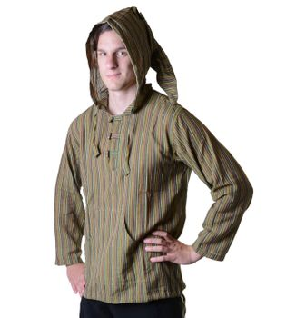 Striped Fisherman Shirt Kurtha Poncho Medieval with Hood – Bild 18