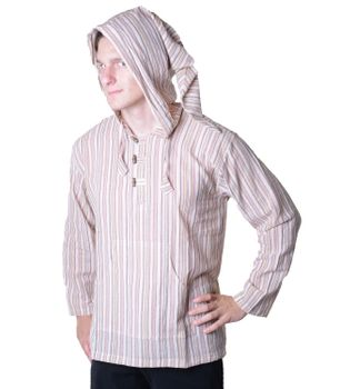 Striped Fisherman Shirt Kurtha Poncho Medieval with Hood – Bild 5