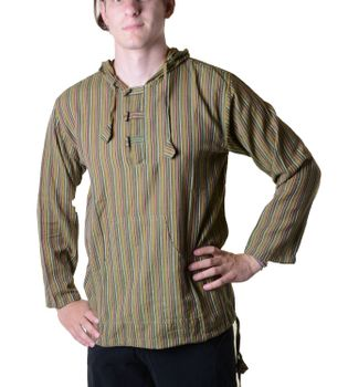 Striped Fisherman Shirt Kurtha Poncho Medieval with Hood – Bild 17