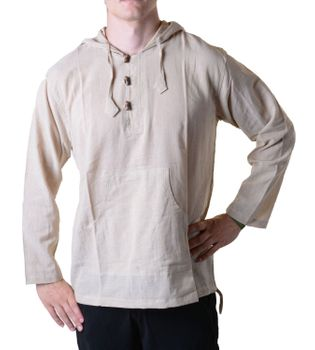 Fisherman Shirt Kurtha Unicolor Shirt Poncho Medieval Nepal with Hood – Bild 4