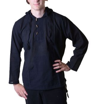 Fisherman Shirt Kurtha Unicolor Shirt Poncho Medieval Nepal with Hood – Bild 10