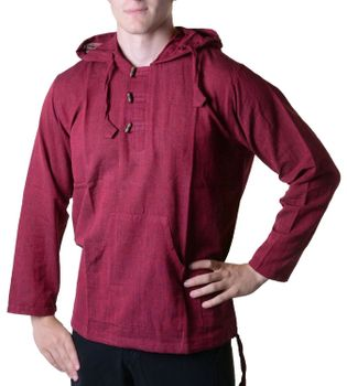 Fisherman Shirt Kurtha Unicolor Shirt Poncho Medieval Nepal with Hood – Bild 6