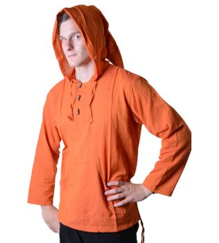 Fisherman Shirt Kurtha Unicolor Shirt Poncho Medieval Nepal with Hood – Bild 16