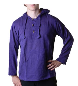 Fisherman Shirt Kurtha Unicolor Shirt Poncho Medieval Nepal with Hood – Bild 13