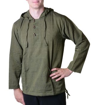 Fisherman Shirt Kurtha Unicolor Shirt Poncho Medieval Nepal with Hood – Bild 8