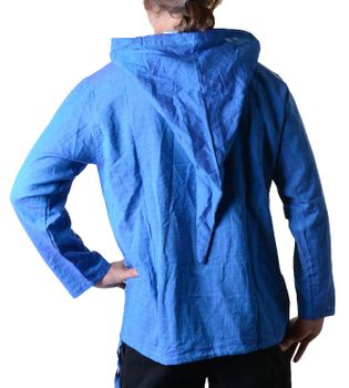 Fisherman Shirt Kurtha Unicolor Shirt Poncho Medieval Nepal with Hood – Bild 3