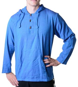 Fisherman Shirt Kurtha Unicolor Shirt Poncho Medieval Nepal with Hood – Bild 1