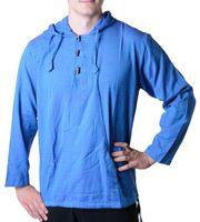 Fisherman Shirt Kurtha Unicolor Shirt Poncho Medieval Nepal with Hood 001