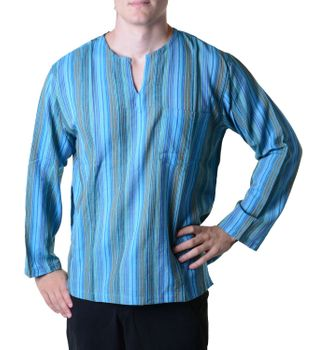 Fisherman Shirt Kurtha Striped Shirt Poncho Medieval Nepal – Bild 2