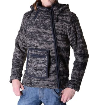 Baja Nepal Knit Jacket Poncho Hoodie Cotton with Fleece Lining and Elfin Hood Black/Gray – Bild 1