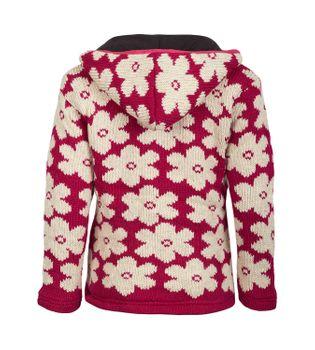 Goa Blumen Damen Nepal Strickjacke Poncho Pullover Wolle mit Fleecefutter und abnehmbarer Kapuze – Bild 2