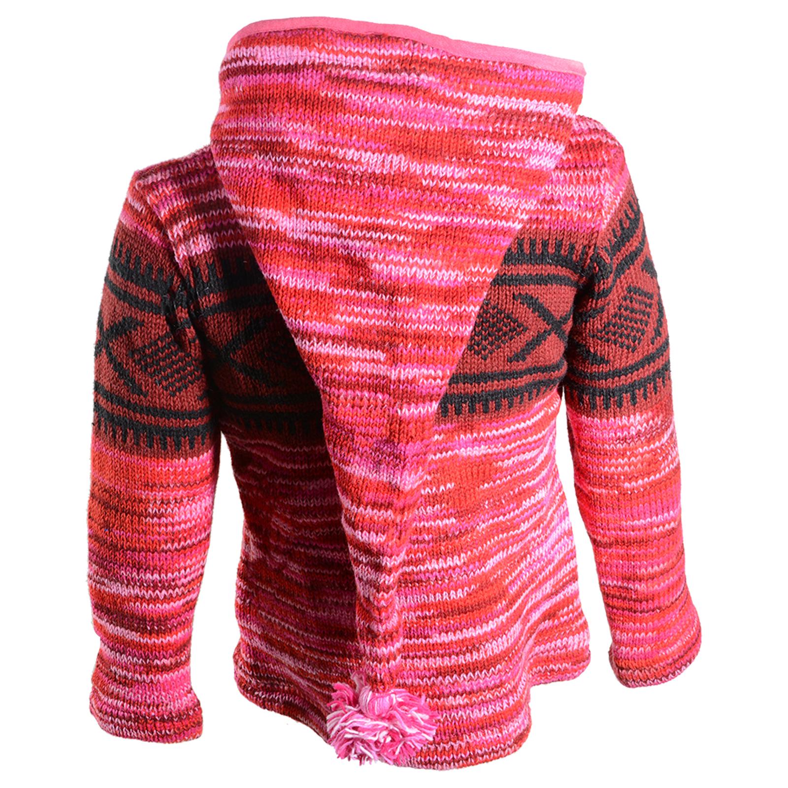 2f6ea3917317 Hippie Goa Nepal Strickjacke Poncho Woll-Pullover in Pink mit abnehmbarer  Zipfelkapuze – Bild