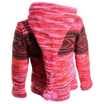 Hippie Goa Nepal Strickjacke Poncho Woll-Pullover in Pink mit abnehmbarer Zipfelkapuze – Bild 4