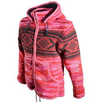 Hippie Goa Nepal Strickjacke Poncho Woll-Pullover in Pink mit abnehmbarer Zipfelkapuze – Bild 2
