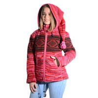 Hippie Goa Nepal Strickjacke Poncho Woll-Pullover in Pink mit abnehmbarer Zipfelkapuze 001