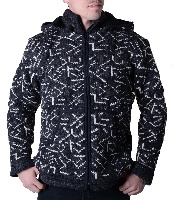 herren strickjacke wolljacke mit fleecefutter und abnehmbarer kapuze und muster. Black Bedroom Furniture Sets. Home Design Ideas
