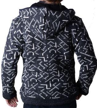 Herren Strickjacke Wolljacke mit Fleecefutter und abnehmbarer Kapuze und Muster – Bild 2