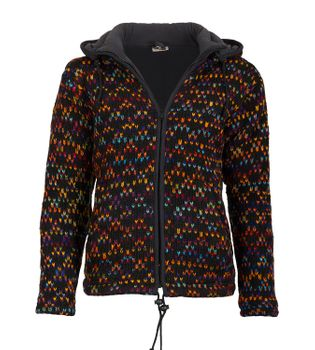 Colorful cardigan sweater with detachable hood - Goa Nepal ladies jacket