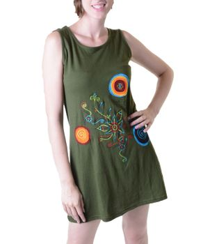 Hippie Goa Strap Dress with Colorful Design Embroidered – Bild 1