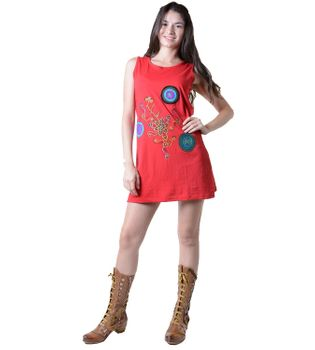 Hippie Goa Strap Dress with Colorful Design Embroidered – Bild 3