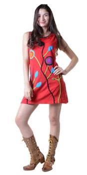Minidress Hippie Goa Strap Dress with Colorful Patchwork Design – Bild 4