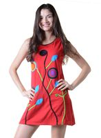 Minikleid Longshirt Tunika Hippie Sommerkleid mit Patches 001