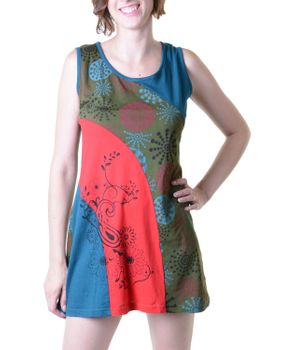 Hippie Goa Strap Dress with Colorful Patchwork Design