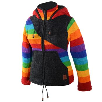 KUnst und Magie Women's Wool Knit Jacket Hippie Goa With Elfin Hood Rainbow – Bild 2