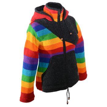 Kunst und Magie Damen Goa Strickjacke Wolle mit Fleecefutter und Zipfelkapuze Schwarz/Regenbogen – Bild 5