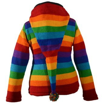 KUnst und Magie Women's Wool Knit Jacket Hippie Goa With Elfin Hood Rainbow – Bild 3