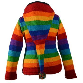Kunst und Magie Damen Goa Strickjacke Wolle mit Fleecefutter und Zipfelkapuze Schwarz/Regenbogen – Bild 3