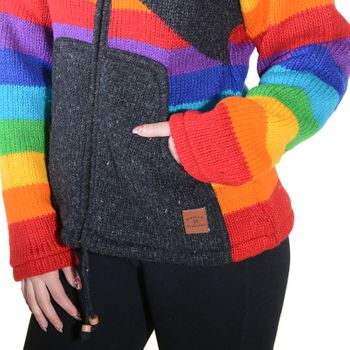 KUnst und Magie Women's Wool Knit Jacket Hippie Goa With Elfin Hood Rainbow – Bild 9
