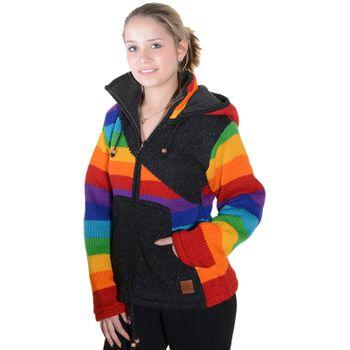 Kunst und Magie Damen Goa Strickjacke Wolle mit Fleecefutter und Zipfelkapuze Schwarz/Regenbogen – Bild 10