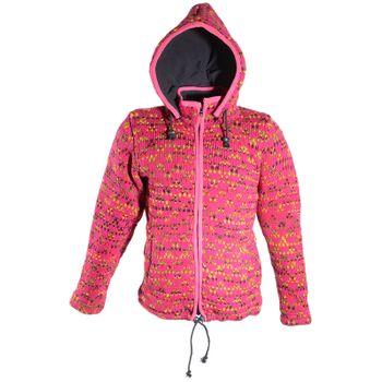 Hippie Goa Nepal Strickjacke Poncho - Damen-Wolljacke mit abnehmbarer Kapuze Pink