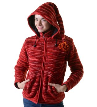 Woolen Jacket Hippie Goa with Detachable Hood Red – Bild 2