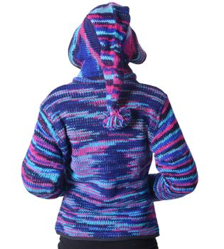 Woolen Jacket Hippie Goa with Detachable Hood Blue – Bild 4