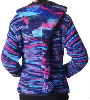 Woolen Jacket Hippie Goa with Detachable Hood Blue – Bild 3