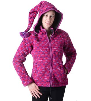 Women's Woolen Knit Jacket with Detachable Elfin Hood
