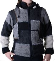 Men's Woolen Knit Jacket with Fleece Jacket with Detachable Hood 001