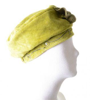 Mütze Hut aus Samt mit Pailletten & Blume Grün – Bild 2