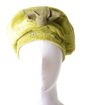 Mütze Hut aus Samt mit Pailletten & Blume Grün – Bild 1