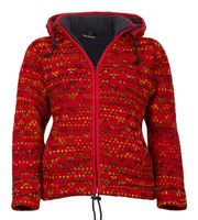 Hippie Women's Knit Jacket With Detachable Hood Red