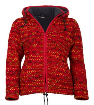 Red cardigan jacket Hippie Goa with Fleece lining & elfin hood – Bild 1