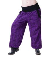 Aladdin Pants Hippie Pants Goa Cotton Harem Pants Purple/ Black 001