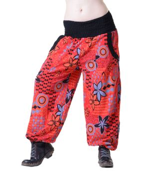 Aladin Pants Hippie Hose Goa Baumwoll Haremshose Rot/Orange