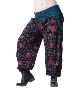 Aladdin Pants Hippie Pants Goa Cotton Harem Pants Black Flower