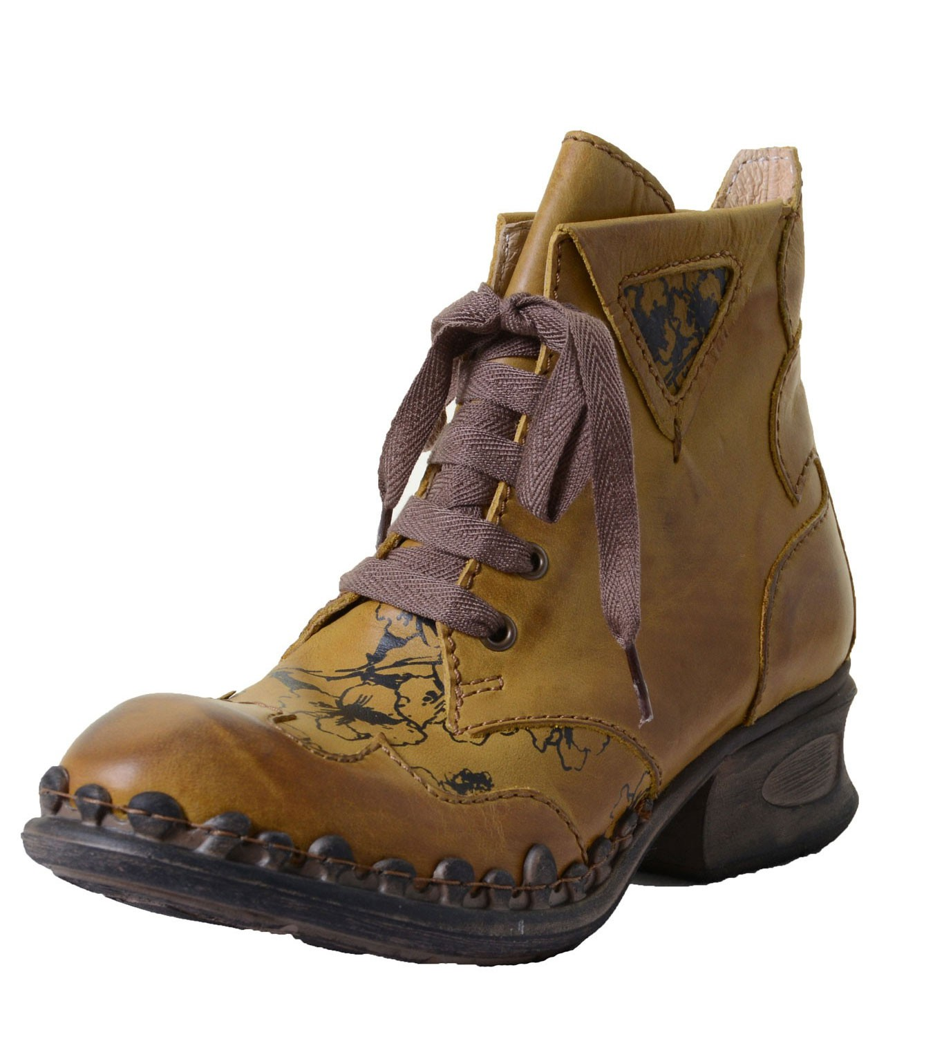 Rovers Women's Leather Ankle boots yellow with floral ...