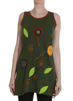 Patchwork Longshirt Tunika Hippie Spiralblumen – Bild 3